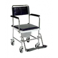 Cadeira Sanitária Rodada com Patins para Pés e Assento Almofadado